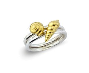 Sterling Silver Round Golden Shell Ring
