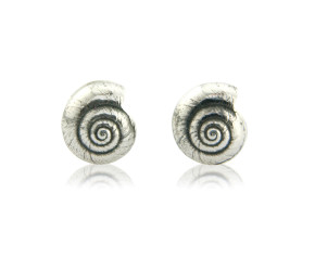 Sterling Silver Round Shell Earrings