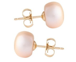 9ct Gold 8mm Freshwater Lilac Button Pearl Earrings