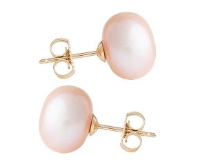 9ct Gold 10mm Freshwater Lilac Button Pearl Earrings