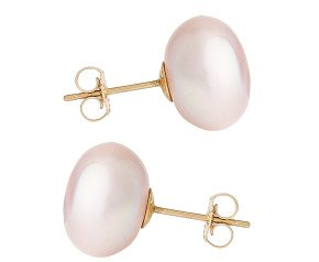 9ct Gold 12mm Freshwater Lilac Button Pearl Earrings