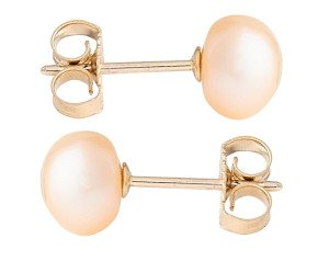 9ct Gold 6mm Freshwater Peach Button Pearl Earrings
