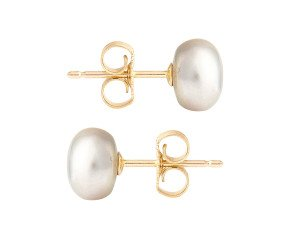 9ct Gold 6mm Freshwater Silver Button Pearl Earrings