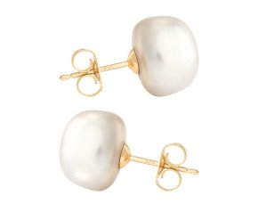 9ct Gold 11mm Freshwater Silver Button Pearl Earrings