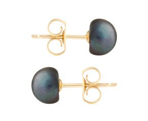 9ct Gold 6mm Freshwater Black Button Pearl Earrings