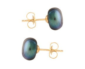9ct Gold 8mm Freshwater Black Button Pearl Earrings