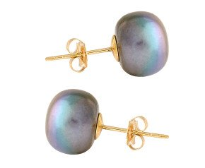 9ct Gold 10mm Freshwater Black Button Pearl Earrings