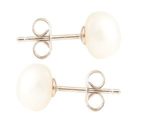 Silver 6mm Freshwater Button Pearl Earrings