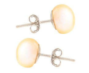 Silver 8mm Freshwater Peach Button Pearl Earrings