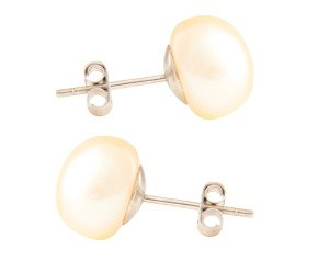 Silver 10mm Freshwater Peach Button Pearl Earrings