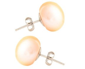 Silver 12mm Freshwater Peach Button Pearl Earrings