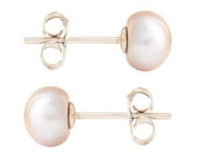 Silver 6mm Freshwater Silver Button Pearl Earrings
