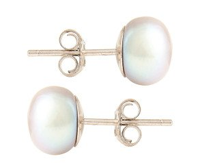 Silver 8mm Freshwater Silver Button Pearl Earrings