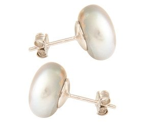 Silver 12mm Freshwater Silver Button Pearl Earrings