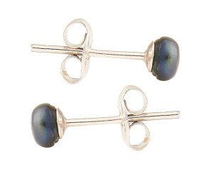 Silver 4mm Freshwater Black Button Pearl Earrings