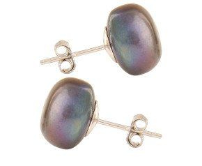 Silver 11mm Freshwater Black Button Pearl Earrings