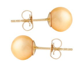 9ct Gold 7mm Freshwater Yellow Pearl Earrings