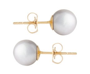 9ct Gold 7.5mm Freshwater Silver Pearl Earrings
