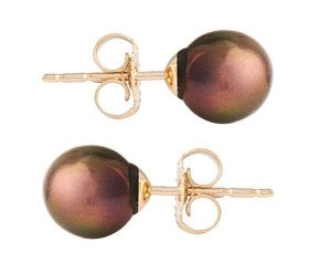 9ct Gold 6.5mm Freshwater Brown Pearl Earrings