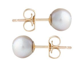 9ct Gold 6mm Freshwater Silver Pearl Earrings
