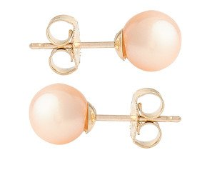 9ct Gold 6mm Freshwater Peach Pearl Earrings
