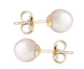 9ct Gold 6mm Freshwater Lilac Pearl Earrings