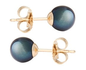 9ct Gold 6mm Freshwater Black Pearl Earrings