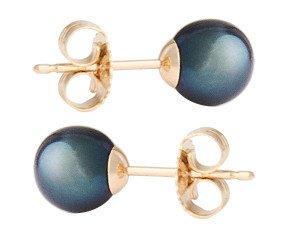 9ct Gold 6mm Freshwater Black Pearl Earrings