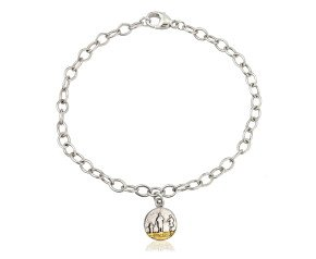 Sterling Silver Round Family Beach Bracelet