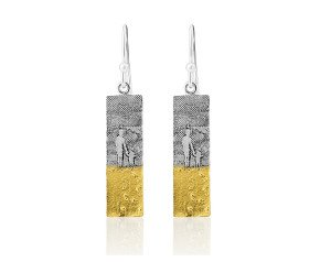 Sterling Silver Mother & Child Footprints Drop Earrings