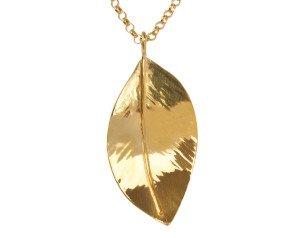 Sterling Silver & Yellow Gold Vermeil Large Wild Apple Leaf Pendant
