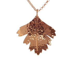 Sterling Silver & Rose Gold Vermeil Hawthorn Large Leaf Pendant