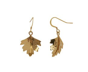 Sterling Silver & Yellow Gold Vermeil Hawthorn Leaf Earrings