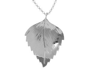 Sterling Silver Silver Birch Large Leaf Pendant