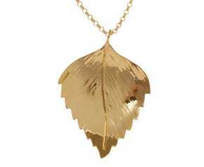Sterling Silver & Yellow Gold Vermeil Silver Birch Large Leaf Pendant