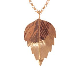 Sterling Silver & Rose Gold Vermeil Silver Birch Medium Leaf Pendant