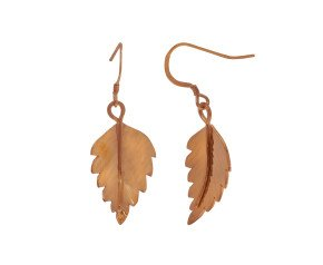 Sterling Silver & Rose Gold Vermeil Silver Birch Leaf Earrings