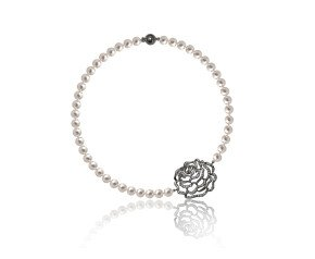 Sterling Silver Rose Pearl Necklace