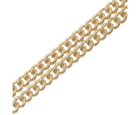 18ct Yellow Gold 2.11mm Filed Curb Chain Necklace
