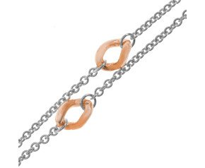9ct Rose & White Gold Trace & Curb Fancy Chain Necklace