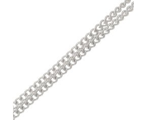 9ct White Gold 0.83mm Filed Curb Chain