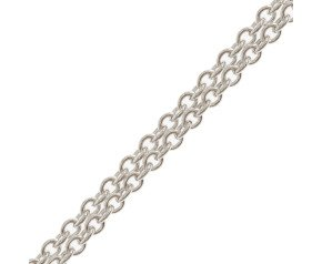 9ct White Gold Close Link Trace Chain