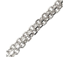 18ct White Gold Close Link Filed Trace Chain