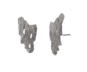 Sterling Silver Bark Earrings