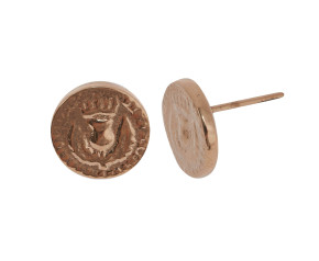 18ct Rose Gold Vermeil Bawbee Coin Stud Earrings