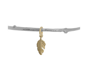 Sterling Silver & 18ct Yellow Gold Vermeil Twig Bangle With Feather