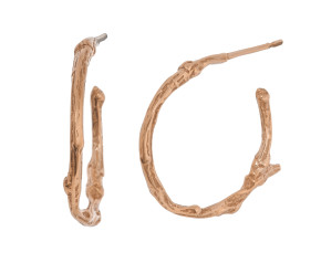 18ct Rose Gold Vermeil Small Twig Hoop Earrrings