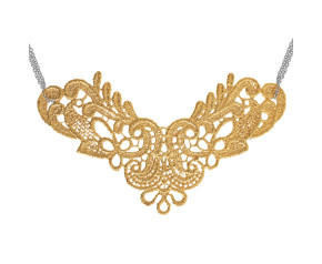 Sterling Silver & 18ct Yellow Gold vermeil Large Lace Neckpiece