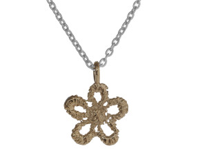 Sterling Silver & 18ct Yellow Gold Vermeil Lace Daisy Necklace