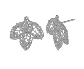 Sterling Silver Lace Leaf Stud Earrings
